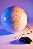 De wereld bij een muis klikt Stock Fotografie