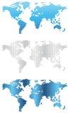 De wereld brengt 2-illustratie-kaarten in kaart Stock Fotografie