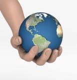 de wereld in de palmen uw handen vector illustratie