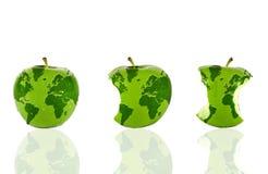 De wereld in drie appelen Stock Afbeelding