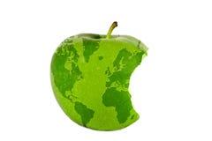 De wereld in een appel Royalty-vrije Stock Afbeeldingen