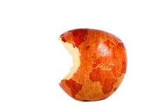 De wereld in een rode appel Stock Fotografie