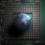 De wereld en de computer Stock Afbeeldingen