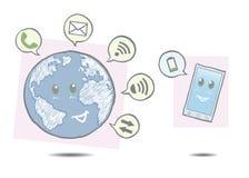 De Wereld en smartphone Royalty-vrije Stock Afbeelding