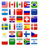 De wereld markeert Vlakke Vierkante Pictogramreeks Stock Afbeelding