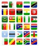De wereld markeert Vlakke Vierkante Pictogramreeks Stock Afbeeldingen