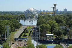 1964 de Wereld ` s Eerlijke Unisphere van New York in het Spoelen van Weidenpark Stock Foto