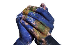 De wereld in uw handen (Aardekaart die door NASA wordt geleverd) Stock Fotografie