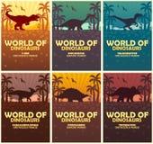 De Wereld van de affichesinzameling van dinosaurussen Voorhistorische Wereld Jura Periode royalty-vrije illustratie