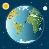 De Wereld van de stad Dag Nacht Royalty-vrije Stock Afbeeldingen