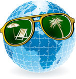 De wereld van de zonnebril Stock Illustratie