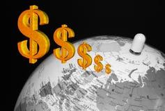 De wereld van het geld Stock Afbeeldingen