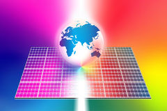 De wereld van zonne-energiepanelen vector illustratie