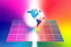 De wereld van zonne-energiepanelen royalty-vrije illustratie