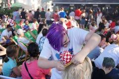De Wereldbeker 2018 gelijke Frankrijk van FIFA versus Kroatië Stock Foto's