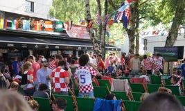 De Wereldbeker 2018 gelijke Frankrijk van FIFA versus Kroatië Stock Fotografie