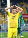 De Wereldbeker 2018 kwalificerend spel de Oekraïne v van FIFA IJsland Stock Foto
