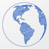 De wereldbol 3 van de tekening royalty-vrije illustratie