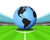 De wereldbol van Amerika in het middenveld van de vector van het voetbalstadion Royalty-vrije Stock Fotografie