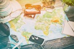 De wereldconcept van de bedrijfsreis reizend kaart Stock Foto's