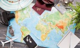 De wereldconcept van de bedrijfsreis reizend kaart Royalty-vrije Stock Foto