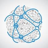 De wereldgemeenschap verbindt - Blauw het pictogramnetwerk van de lijnverbinding en het grijze vectorontwerp van de pictogramtech Stock Fotografie