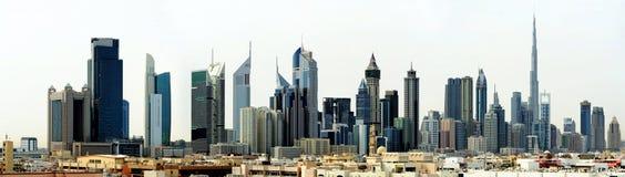 De Wereldhandelscentrum en Burj Khalifa van Doubai Stock Foto