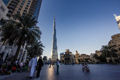 De Wereldhandelscentrum en Burj Khalifa van Doubai Royalty-vrije Stock Fotografie