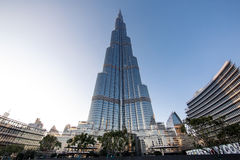 De Wereldhandelscentrum en Burj Khalifa van Doubai Royalty-vrije Stock Afbeeldingen
