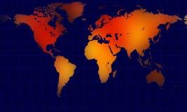 De wereldkaart van de bol het globale verwarmen stock illustratie
