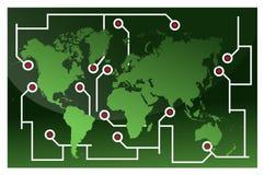 De wereldkaart van de reis Royalty-vrije Stock Afbeeldingen