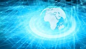 De wereldkaart van gestippelde lijnverbindingen, globalisering vector illustratie
