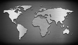 Wereldkaart metaal muur