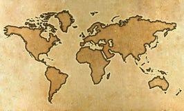 De wereldkaart van het perkament Stock Foto's