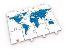 De wereldkaart van het raadsel Stock Foto