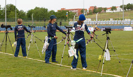 De wereldkop van het boogschieten, 4 Mei, 2010 in Porec, Kroatië Stock Foto's
