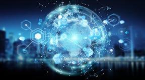 De wereldmening van het verbindingensysteem het globale 3D teruggeven Stock Foto