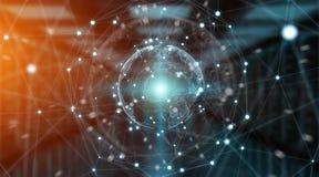 De wereldmening van het verbindingensysteem het globale 3D teruggeven Stock Afbeelding
