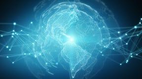 De wereldmening van het verbindingensysteem het globale 3D teruggeven Royalty-vrije Stock Afbeelding
