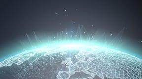 De wereldmening van het verbindingensysteem het globale 3D teruggeven Royalty-vrije Stock Afbeeldingen
