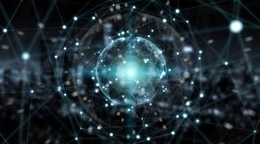 De wereldmening van het verbindingensysteem het globale 3D teruggeven Stock Afbeeldingen