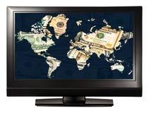 De wereldtelevisie van het geld Stock Fotografie