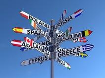 De wereldvlaggen voorzien van wegwijzers Royalty-vrije Stock Afbeelding