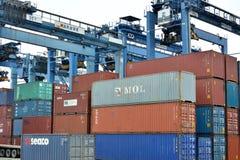 De werf van containergoederen in Xiamen, Fujian, China Royalty-vrije Stock Fotografie