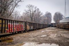 De Werf van de de wintertrein Stock Foto's