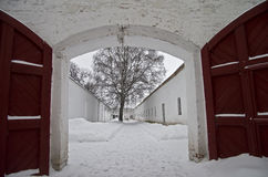 De werf van de gevangenis. Stock Foto