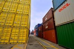 De werf van de Xiamencontainer, Fujian, China Stock Fotografie