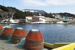 De werf van Lark Harbour van krabvallen in landelijk Newfoundland Royalty-vrije Stock Afbeelding