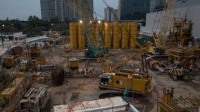 De werken aangaande bouwwerf in de avond Royalty-vrije Stock Afbeelding