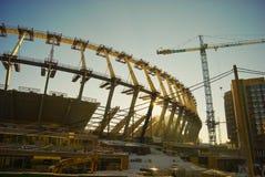 De werken van de bouw van het stadion van 2012 van de Euro in Kiev Stock Afbeeldingen